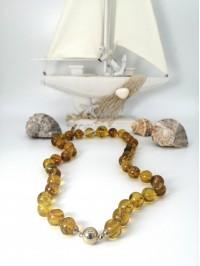 14 Ayar Altın Uçlu Fosilli Kehribar Kolye