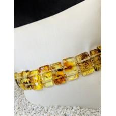 Sarı Fosilli Dikdörtgen Kesim Kehribar Bileklik