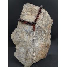 Gümüş İmame ve Püsküllü Kahverengi Kehribar Tesbih